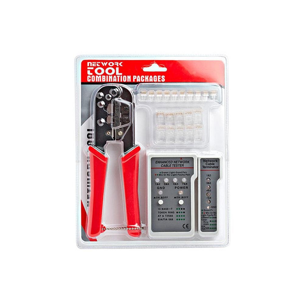 rj 45 rj12 crimping tool kit w network tester and modular plugs. Black Bedroom Furniture Sets. Home Design Ideas