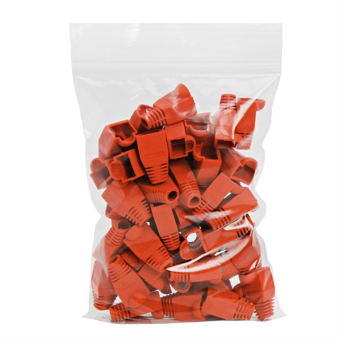 RJ45 Color Coded Strain Relief Boots 50pcs - Red