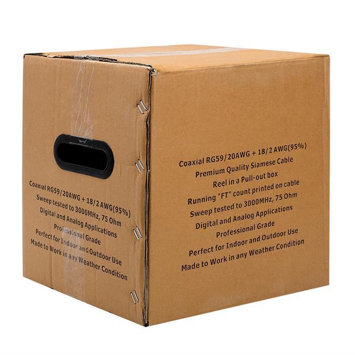 Siamese RG59 + 18/2 CCTV 95% Bare Copper Shielded Cable Pull Box - 500 Feet Black