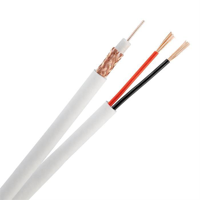 Siamese RG59 + 18/2 CCTV 95% Bare Copper Shielded Cable Pull Box - 500 Feet White