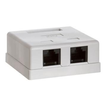 Surface Mount Box Cat6 Double WHITE