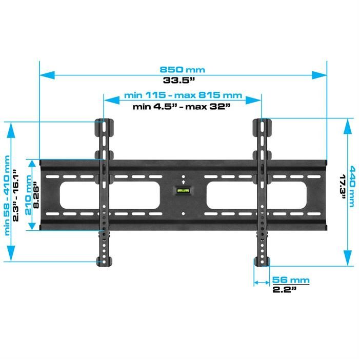 "Dimensions - Ultra Slim Heavy-Duty Fixed TV Wall Mount For 37""-70"" TV's"