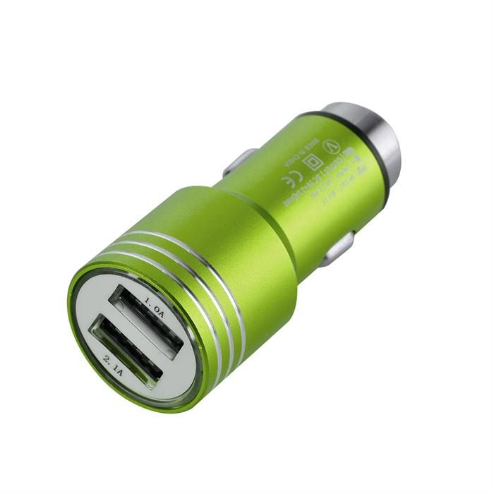 Universal Dual USB Ports Car Charger Adapter, 2.1A-24V, Neon Green
