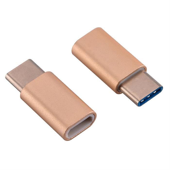 USB-C Adapter, USB Type C (male) to Micro USB (female) Adapter for Data Syncing and Charging, Gold