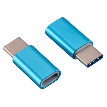 USB-C Adapter, USB Type C (male) to Micro USB (female) Adapter for Data Syncing and Charging, Neon Blue