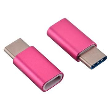 USB-C Adapter, USB Type C (male) to Micro USB (female) Adapter for Data Syncing and Charging, Neon Pink