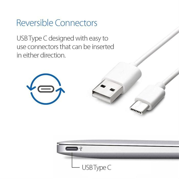 USB Cable 2.0 USB-A to USB-C (USB Type C) Data Charge Cable, 3 Feet, White