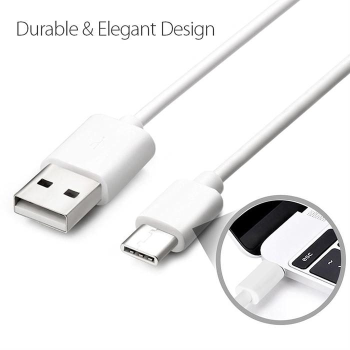 USB Cable 2.0 USB-A to USB-C (USB Type C) Data Charge Cable, 6 Feet, White