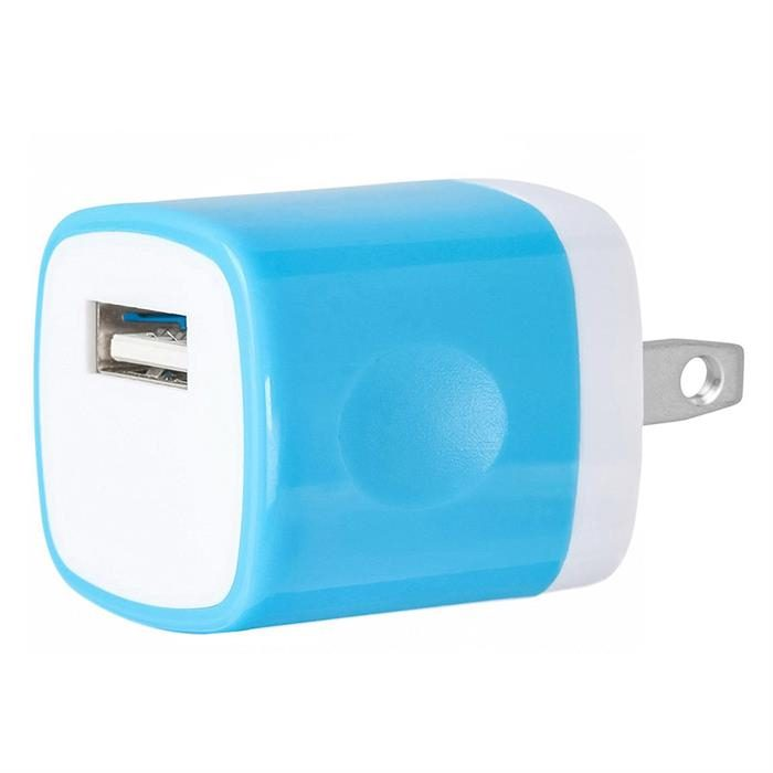 USB Home Wall Charger Travel Adapter for iOS and Android Mobile Devices, Blue