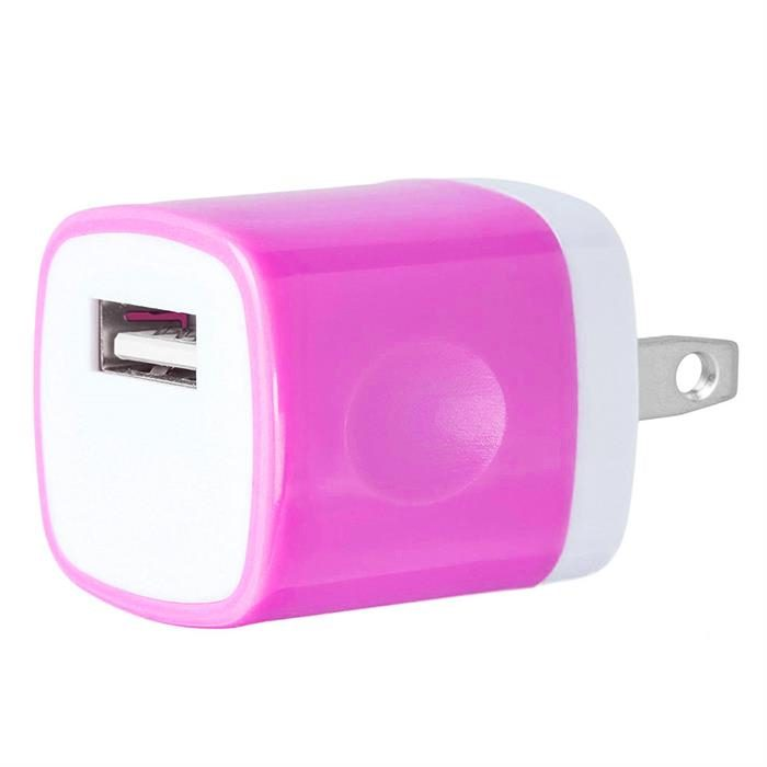 USB Home Wall Charger Travel Adapter for iOS and Android Mobile Devices, Neon pink