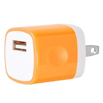 USB Home Wall Charger Travel Adapter for iOS and Android Mobile Devices, Orange