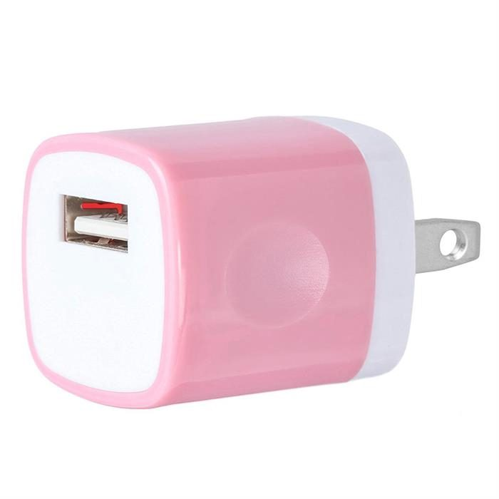 USB Home Wall Charger Travel Adapter for iOS and Android Mobile Devices, Rose