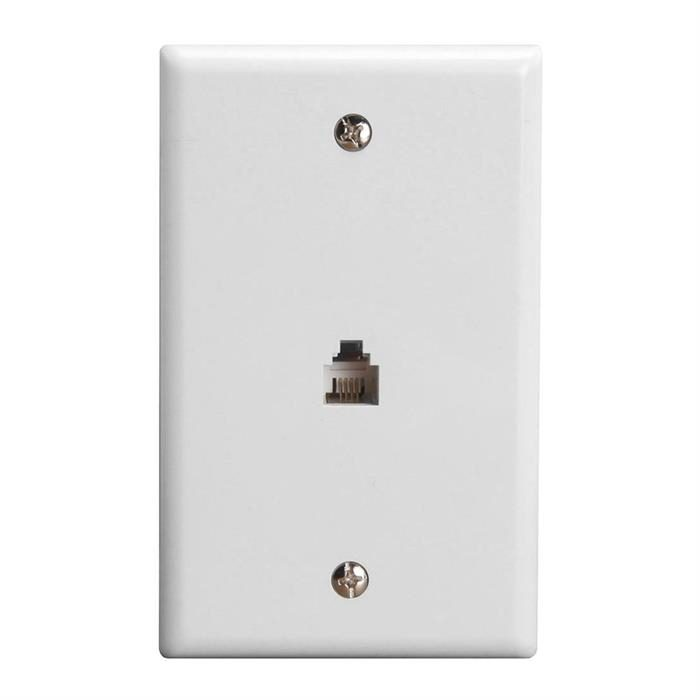 Wall Plate Jacks 6P4C Single White