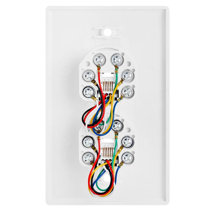 Wall Plate Jacks 6P6C Double White