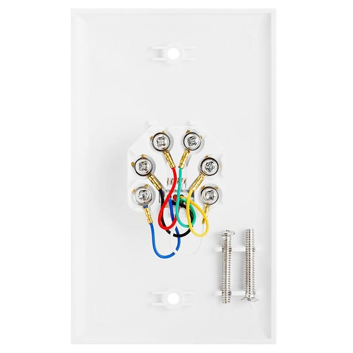 Wall Plate Jacks 6P6C Single White