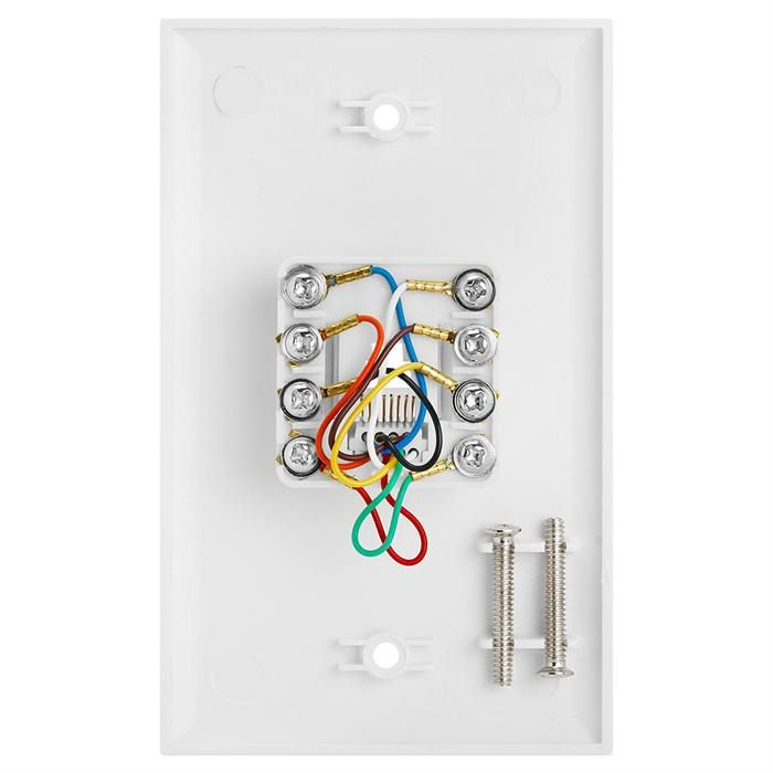 Wall Plate Jacks 8P8C Single White