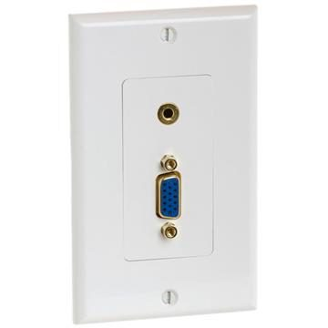 "Wall Plate With VGA 15-Pin Jack And 1/8"" Stereo Audio Jack"