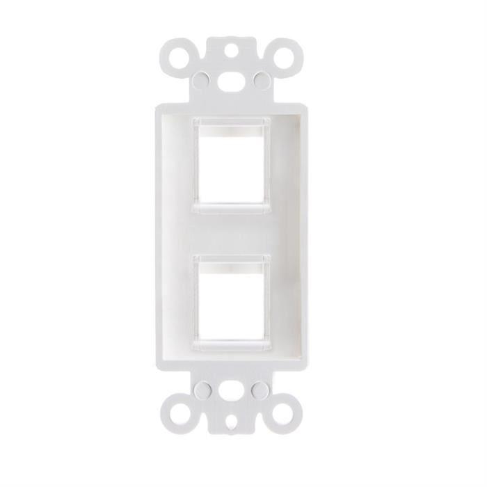 White Decora Style Keystone Insert - 2 Port