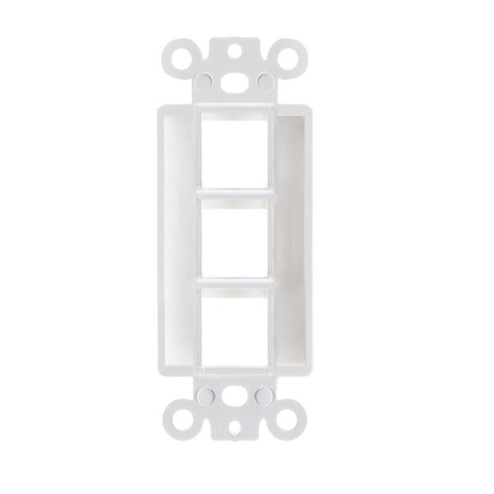 White Decora Style Keystone Insert - 3 Port
