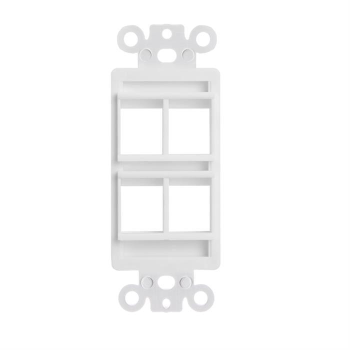White Decora Style Keystone Insert - 4 Port