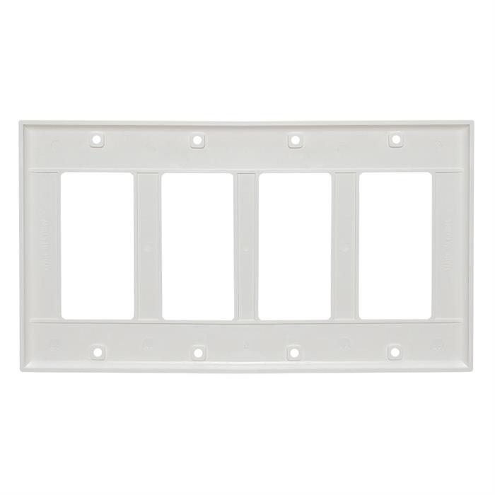 White Decora Wall Plate - 4-Gang