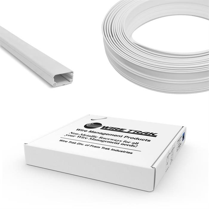 "Wire Trak On A Roll 1/2"" H x 1"" W - 50 FT, White, Raceway, Cable Management"