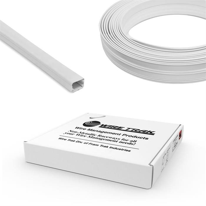 "Wire Trak On A Roll 3/4"" H x 1/2"" W, 50 FT, White, Raceway, Cable Management"